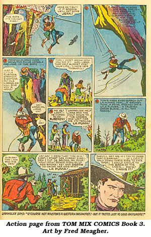 Action page from TOM MIX COMICS Book 3. Art by Fred Meagher.