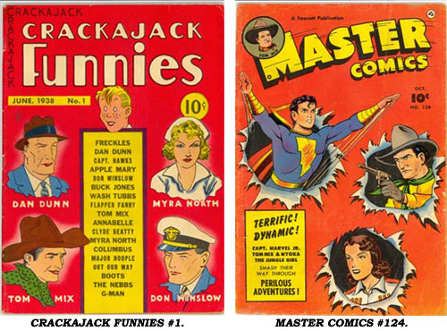 Covers to CRACKAJACK FUNNIES #1 and MASTER COMICS #124.