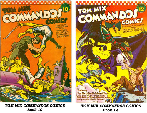 Covers to TOM MIX COMMANDOS COMICS Book 10 and Book 12.