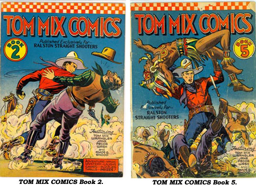 Covers to TOM MIX COMICS Book 2 and Book 5.