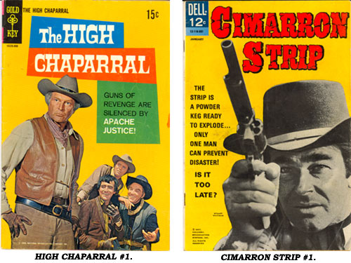Covers to HIGH CHAPARRAL #1 and CIMARRON STRIP #1.