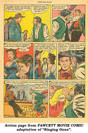 "Action page from FAWCETT MOVIE COMIC adaptation of ""Singing Guns""."