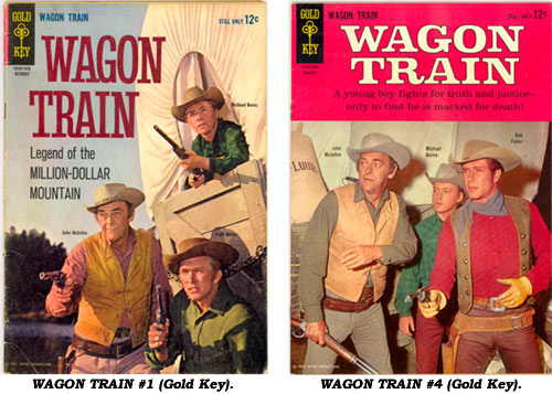 Covers to WAGON TRAIN #1 and #4 from Gold Key.
