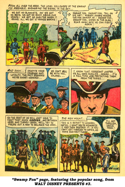 """Swamp Fox"" page, featuring the popular song, from WALT DISNEY PRESENTS #3."