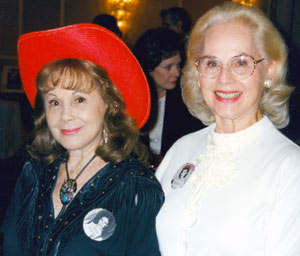 Sisters Caren Marsh and Dorothy Morris at a Jivin' Jacks and Jills Hollywood luncheon reunion in October 1997. Note Polly Bergen in the background.