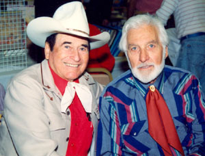 Montie Montana and John Hart (the other Lone Ranger) at a Hollywood Collector's Show in April, 1994.