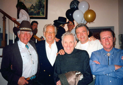 Morgan Woodward, Gregory Walcott, George Wallace, Rex Reason and Neil Summers at a Hollywood gathering in the '90s.