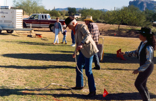 "Actor Wright King (Jason on ""Wanted Dead or Alive"") hones up on his rope work at the Legends of the Desert Film Fesitval in Apache Junction, Arizona in December, 1993."