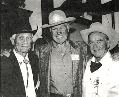 "(L-R) Badman Pierce Lyden, Kelo Henderson (""26 Men"") and Dick Jones (""Range Rider"", ""Buffalo Bill Jr."") at a Lone Pine, CA, film festival."