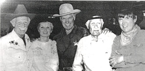 "John Lupton (""Broken Arrow""), Irish McCalla (""Sheena, Queen of the Jungle""), Kelo Henderson (""26 Men""), screen badman Pierce Lyden and Will Hutchins (""Sugarfoot"") at a 1992 Hollywood Collector's show."