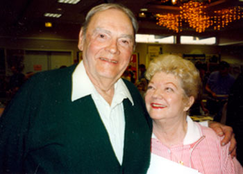 "Character player Walter Reed with Gail (""Annie Oakley"") Davis at a Hollywood Collector's show in the '90s."
