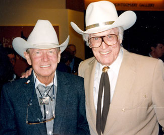 Chuck Courtney and Clayton Moore, Dan Reid and The Lone Ranger in October 1996. (Photo by Leonard Maltin.).