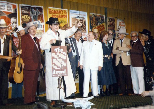 Golden Boot Awards 1985, (L-R) Eddie Dean, Pat Buttram, Bill Campbell, unknown, Dale Robertson, Gene Autry, Amanda Blake, Denver Pyle, Richard Farnsworth, Joe Yrigoyen (?), unknown. (Thanx to Jerry Whittington.)