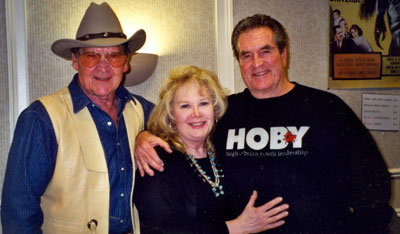 "Husband and wife Dirk London and Jan Shepard with Hugh O'Brian. Dirk was Morgan Earp on O'Brian's ""Life and Legend of Wyatt Earp"". Photo taken in January 2002 at a Hollywood get-together."