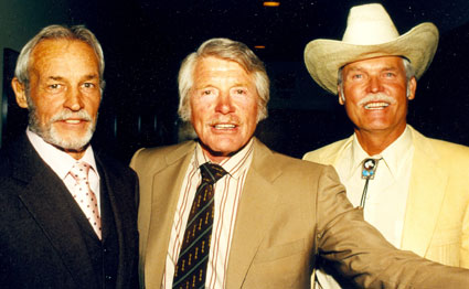"Guy Madison (""Wild Bill Hickok""), Robert Horton (""Wagon Train"") and Ty Hardin (""Bronco"") at a Golden Boot Awards. (Thanx to Neil Summers.)"