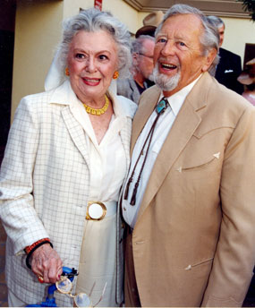 "Old friends since they made ""Gone with the Wind"" together in 1939, Ann Rutherford and Rand Brooks at a Hollywood get-together."
