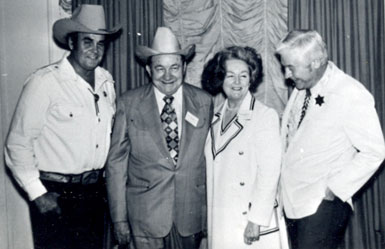 Sunset Carson, Tex Ritter, Dorothy Fay Ritter, Monte Hale at an early Western film fair.