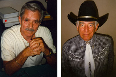 Stuntman/actor Bobby Hoy and Morgan Woodward at the Charlotte, NC, Western Film Fair in 1996.