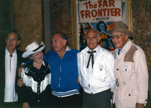 Knoxville, TN, Western Film Festival, 1989: (L-R) Kirk Alyn, Gail Davis, director Bill Witney, stuntman Henry Wills, House Peters Jr.