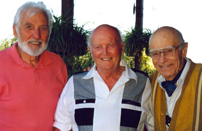 Three great guys! John Hart, Gregg Barton and House Peters Jr. I was privileged to get these three together after many years for a private party at Gregg Barton's house in 1997.