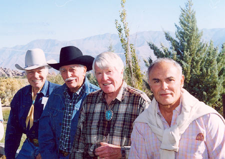 Kelo Henderson, Howard Keel, Robert Horton, John Saxon at the Pheasant Club during the Lone Pine Film Festival in 2003.