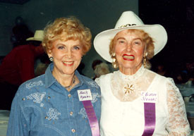 B-western leading ladies Beth Marion and Eleanot Stewart at the Toulumne County, Sonora, California, Wild West Film Fest in 1992.