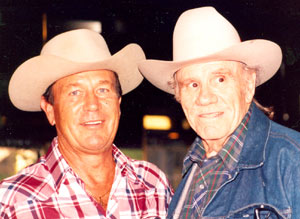 "Don (""Johnny Ringo"") Durant with fabulous western heavy R. G. Armstrong at the Charlotte, NC, Western Film Fair in 1991."