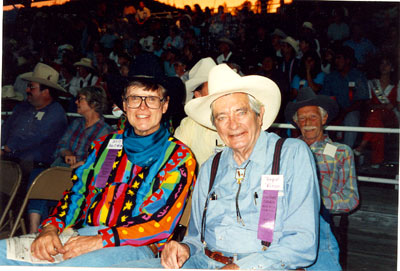 Will Hutchins and Royal Dano at the Toulumne County, Sonora, California, Wild West Film Fest rodeo in 1992. Behind Dano is John Lupton.