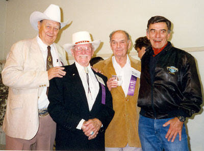 Ben Johnson, director Earl Bellamy, director William Witney and James Drury at a Toulumne County, Sonora, California, Wild West Film Fest.