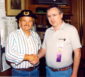 The real Lee Aaker made his first film festival appearance at Sonora, California, in September '93. WC's Boyd Magers (right), with the help of Lee's friend Paul Petersen, helped expose the fake Lee Aaker (Paul Klein) who had attended several western film festivals passing himself off as Lee.