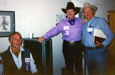 George Montgomery, Rusty Richards (formerly of the Sons of the Pioneers) and Walter Reed at the Toulumne County, Sonora, California, Wild West Film Fest in 1991.