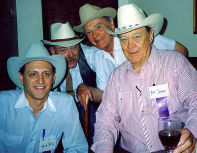 At the Toulumne County, Sonora, California, Wild West Film Fest in 1991, gun spinner and entertainer Mark Allen, director Bob Totten, Walter Reed and Ben Johnson.