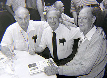 Director William Witney, festival promoter Harold Smith and top stuntman Tom Steele at the Knoxville Western Film Fair in 1990. (Thanx to Grady Franklin.)