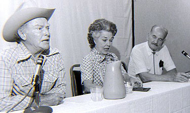 Don Barry, Joan Woodbury and Yakima Canutt on a panel at the St. Louis Film Fair in 1979. (Thanx to Grady Franklin.)