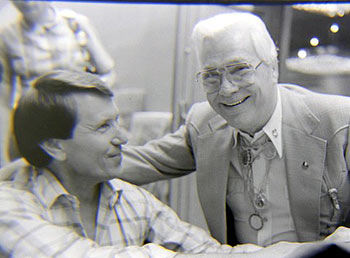 Monte Hale talks with Jim Welch at the Memphis Film Festival in 1984. (Thanx to Grady Franklin.)