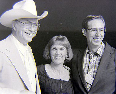 Monte Hale, his wife Joanne and Memphis Film Festival attendee Jim Kocher in 1984. (Thanx to Grady Franklin.)