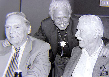 "Walter Reed, Johnny Duncan (Robin in Columbia's ""Batman and Robin"" '49 serial) and Lyle Talbot share a laugh at the Knoxville Western Film Fair in 1990. (Thanx to Grady Franklin.)"
