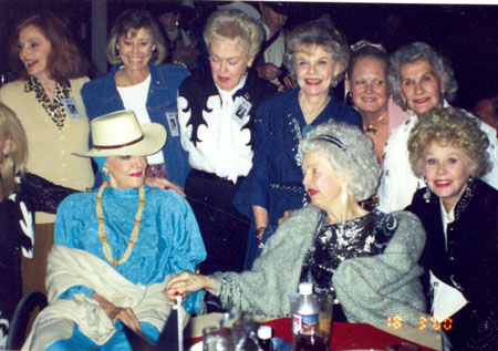 Here'to the ladies! (Back Row L-R) Mary Ellen Kay, Roberta Shore, Lyn Thomas, Ruth Terry, Unknown, Peggy Stewart. (Seated) Jane Russell, Dale Evans, Sue Ane Langdon.