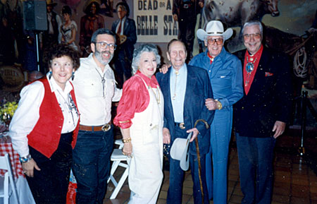 Unknown, journalist Leonard Maltin, Ann Rutherford, Gene Autry, Clayton Moore and Monte Hale at the Gene Autry Western Heritage Museum.