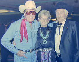 Clayton Moore as the Lone Ranger with Hazel and Pierce Lyden at the 1987 Golden Boot Awards.