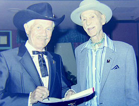 Pierce Lyden and Hank Worden at the 1987 Golden Boot Awards.