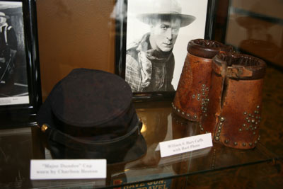"Other items on display from the Magers Collection included a pair of cuffs worn by William S. Hart and Charlton Heston's keppie from ""Major Dundee""."