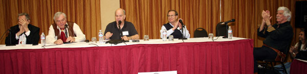 Saturday panel discussion with (l-r) Hugh O'Brian, Ed Faulkner, moderator Ray Nielsen, Charles Briles and L. Q. Jones.