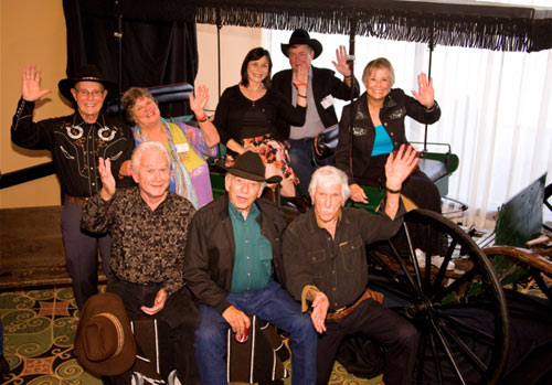 "This was the 50th anniversary of ""The Virginian"" and we gathered eight members of the cast together: (Top row l-r): Don Quine, Sara Lane, Diane Roter, Randy Boone, Roberta Shore. (Front row l-r): Gary Clarke, James Drury, L.Q. Jones."