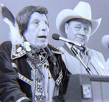 Iron Eyes Cody and Ben Johnson at 1987 Knoxville, TN, Western Film Festival.