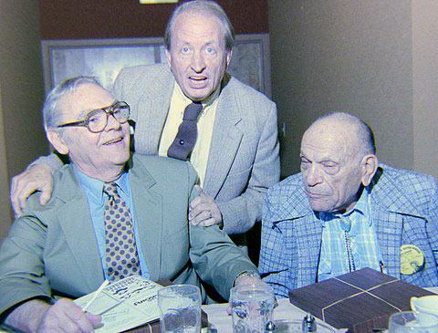 Taken at the 1988 Knoxville, TN, Western Film Fair are Walter Reed, festival organizer Harold Smith and B-western knockabout comedian Frank Mitchell. (Photo by Grady Franklin.)