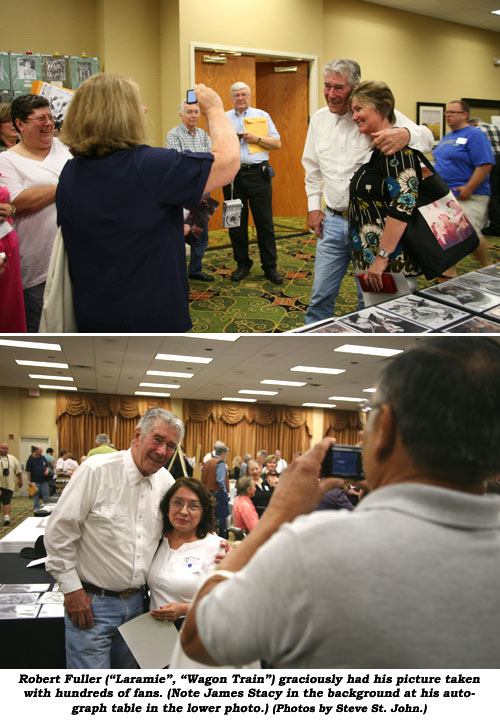 "Robert Fuller (""Laramie"", ""Wagon Train"") graciously had his picture taken with hundreds of fans. (Note James Stacy in the background at his autograph table in the lower photo.) (Photos by Steve St. John.)"
