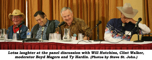 Lotsa laughter at the panel discussion with Will Hutchins, Clint Walker, moderator Boyd Magers and Ty Hardin. (photo by Steve St. John)
