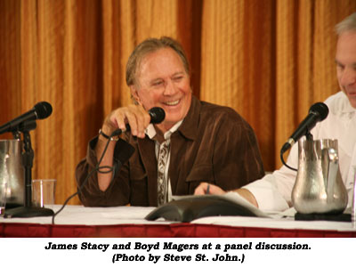 James Stacy and Boyd Magers at a panel discussion. (Photo by Steve St. John.)