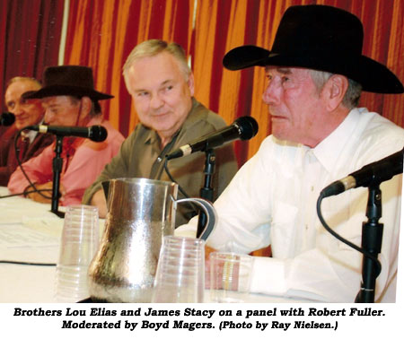 Brothers Lou Elias and James Stacy on a panel with Robert Fuller. Moderated by Boyd Magers.  (Photo by Ray Nielsen.)